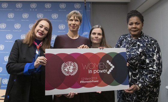 General Assembly President María Fernanda Espinosa Garcés (left) with (left to right): President  Kersti Kaljulaid of Estonia;  Prime Minister Katrín Jakobsdóttir of Iceland; and President Paula-Mae Weekes of Trinidad and Tobago, following their press briefing on the high-Level event on 'Women in Power'.
