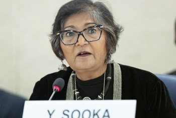 Yasmin Sooka, Chairperson of the Commission on Human Rights in South Sudan present his report at a 40th Session of the Human Rights Council.