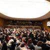 مشاركات ومشاركون في الاجتماع المجتمعي لمؤتمر لجنة وضع المرأة لعام 2019  بحضورالأمين العام للأمم المتحدة أنطونيو غوتيريس.