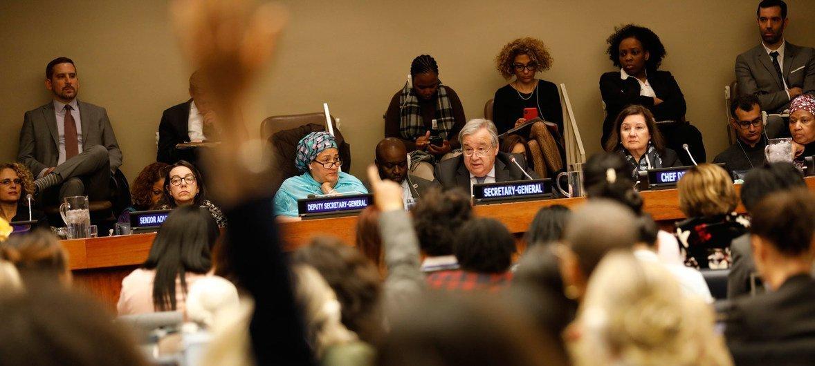 O secretário-geral da ONU participou na sessão de abertura da 63ª Conferência Sobre o Estatuto da Mulher.