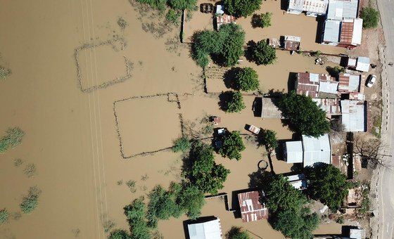 Aerial view of Tengani, Nsanje, Malawi, affected by floods due to the incessant rains from March 5 to March 9 2019.