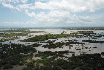 Vista aérea de Tengani, Nsanje, Malawi, inundada tras las lluevias incesantes caídas del 5 al 9 de marzo de 2019