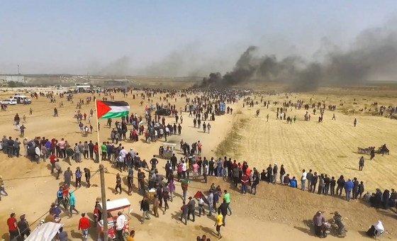 Protestos junto a Faixa de Gaza