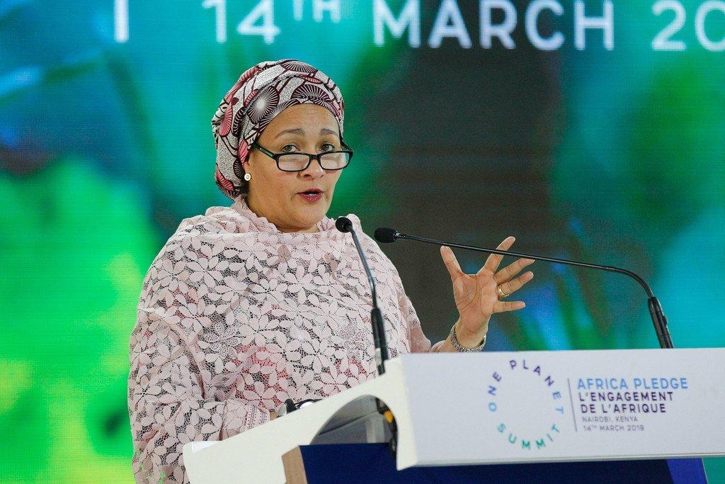 La Vice-Secrétaire générale des Nations Unies, Amina J. Mohammed, s'adresse à la quatrième session de l'Assemblée de l'ONU pour l'environnement (UNEA4) à Nairobi, au Kenya.