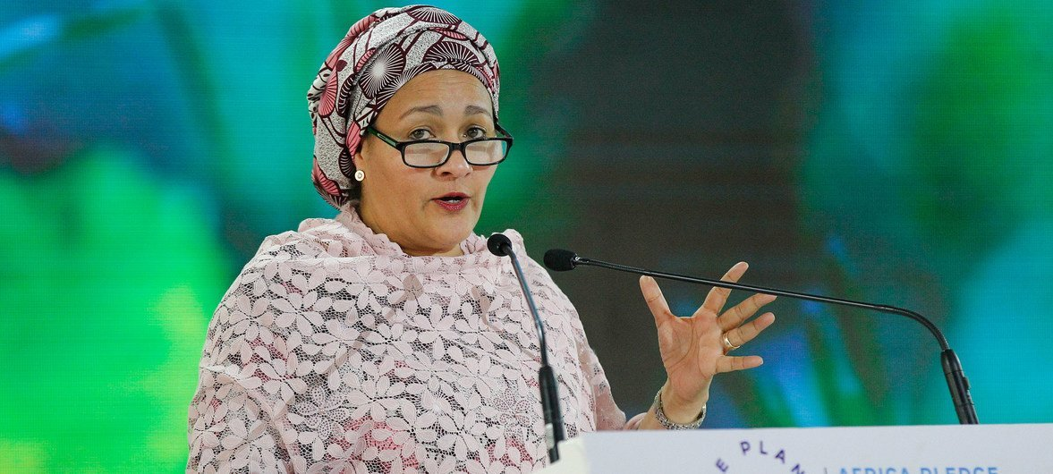 UN Deputy Secretary-General Amina J. Mohammed addresses the Fourth session of the UN Environment Assembly (UNEA4) in Nairobi, Kenya.