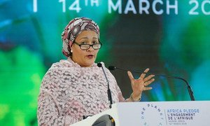 联合国常务副秘书长阿米娜∙默罕默德在肯尼亚首都内罗毕召开的第四届联合国环境大会上致辞。