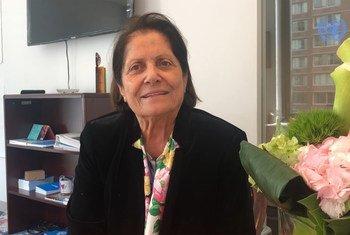 الناشطة النسوية الأردنية ليلى نفاع مديرة المشاريع في جمعية النساء العربيات في الأردن في حوار مع أخبار الأمم المتحدة خلال  فعاليات أعمال الدورة الثالثة والستين للجنة الأمم المتحدة لوضع المرأة