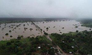 Vista aérea de Moçambique afetada por alagamentos devido ao ciclone tropical Idai