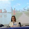 A representante do PMA em Moçambique, Karin Manente, destacou a importância do apoio dos parceiros.