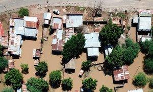 Vista aérea das áreas em Moçambique afectadas pelo ciclone Idai.
