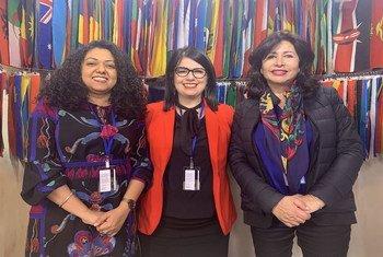 من اليمين إلى اليسار: سامية المالكي من تونس، بريجيت ليبيان من لبنان، وهدى شفيق من السودان.
