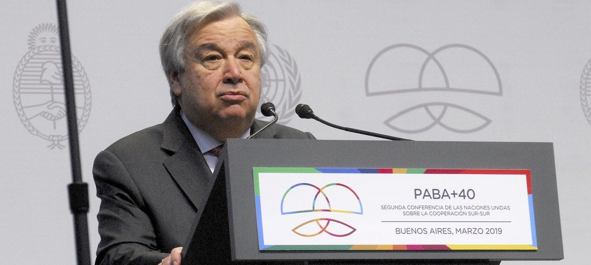 UN Secretary-General during his address in the plenary of the UN High-Level Conference on South-South Cooperation in Buenos Aires, Argentina.