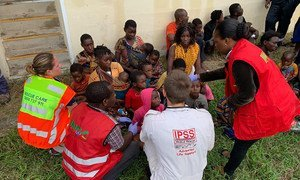 Aid has started to arrive in Beira, Mozambique, providing assistance to rescued people from Bozi.