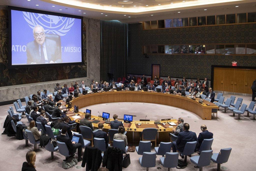 Photo : ONU/Ghassan Salamé, par visioconférence devant le Conseil de sécurité