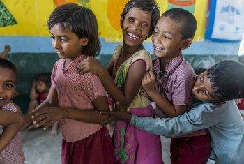 Anupriya, a child with disabilities takes part in development activities at an Anaganwadi center in Cherki, Bihar, India. Around 93 million children with disabilities are at risk of being left behind.