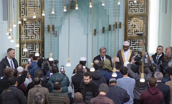 UN Secretary-General António Guterres speaking during his visit to the Islamic Cultural Centre of New York, on 22 March 2019.