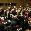 Participants celebrate as the UN Commission on the Status of Women successfully wraps up its 63rd session at UN Headquarters in New York.