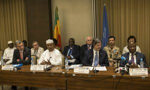 UN Security Council delegation and the Head of the UN mission in Mali, MINUSMA, at a press conference in the country's capital, Bamako, on 23 March.
