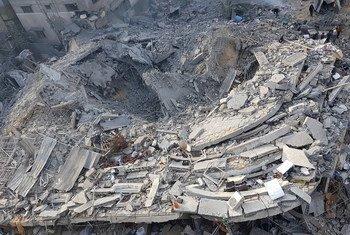 Destruição em bairro residencial de Gaza depois de ataque em novembro de 2018