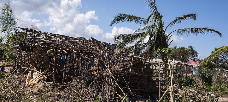 Casa destruida pelo ciclone Idai que atingiu Moçambique.
