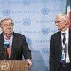 Secretário-geral, António Guterres, com chefe humanitário da ONU, Mark Lowcok, na sede das Nações Unidas em Nova Iorque