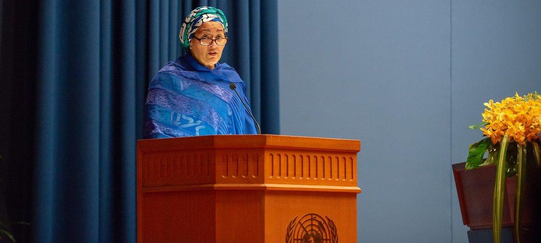 La vicesecretaria general de la ONU, Amina Mohammed, interviene en la apertura del Foro de Asia y el Pacífico sobre Desarrollo Sostenible, que se celebra en Bangkok.
