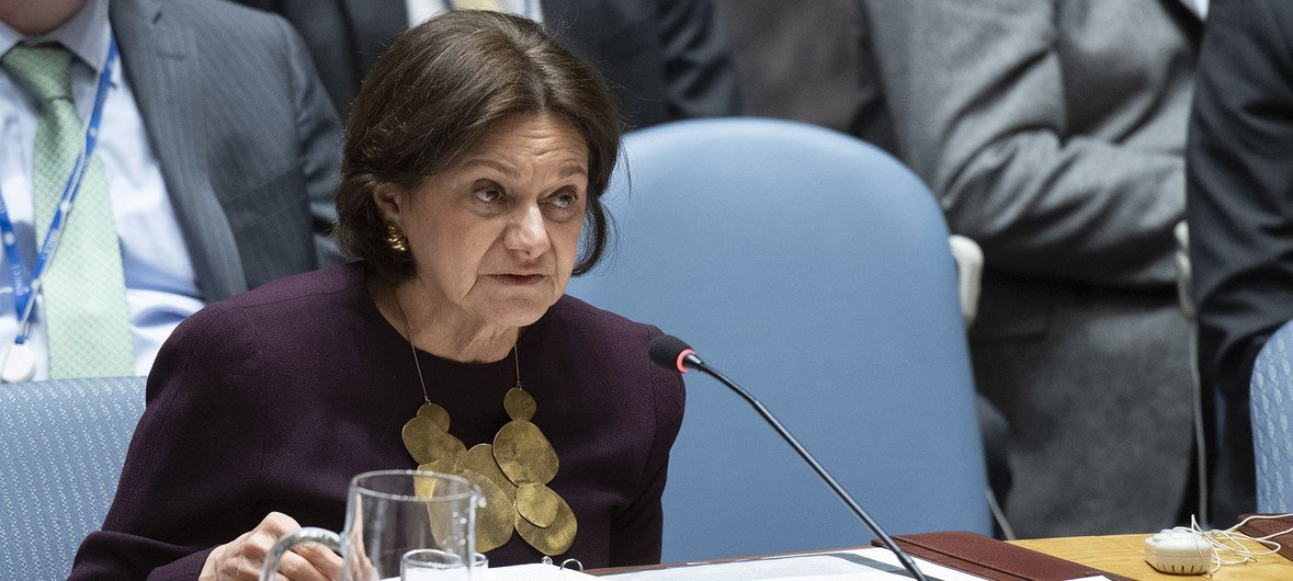 Rosemary DiCarlo, Under-Secretary-General for Political and Peacebuilding Affairs, briefs the Security Council on the situation in the Middle East (Syria).