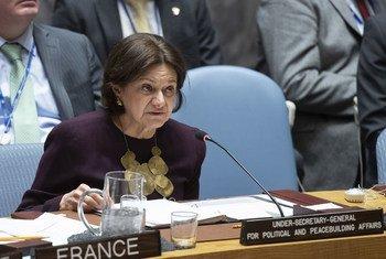 Заместитель Генсека ООН по политическим вопросам и вопросам миростроительства Розмари Дикарло выступила на заседании Совбеза по Сирии. 27 марта 2019 года.