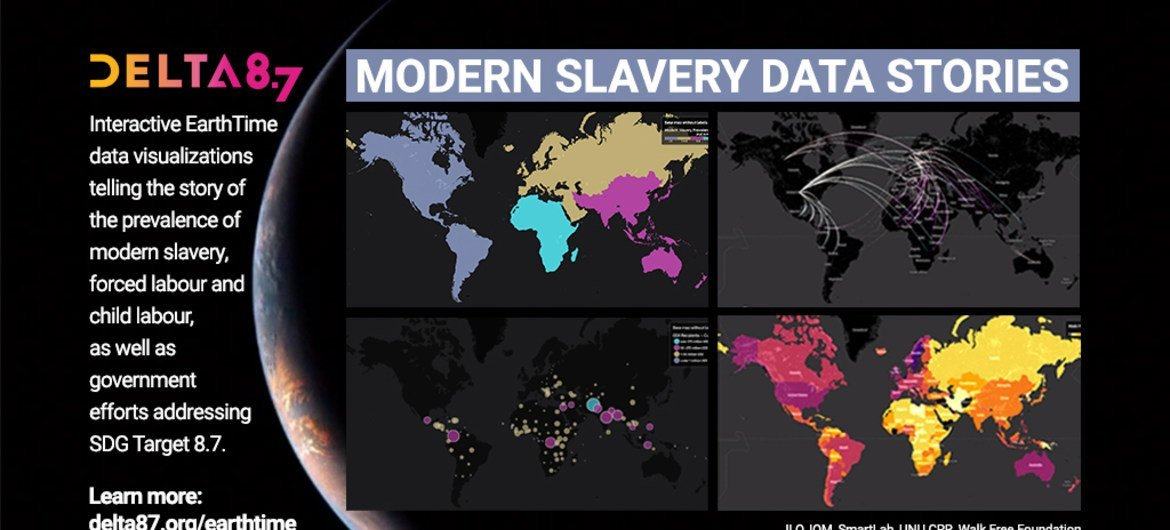 Delta 8.7, UN Interactive Data Visualization tool.  Infographic of modern day slavery.