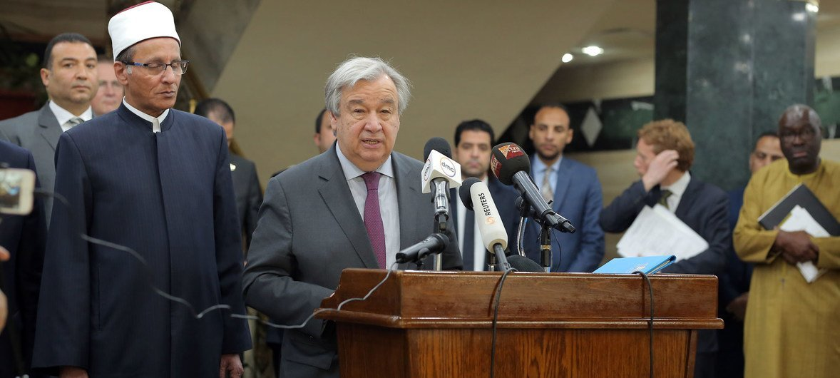 UN Secretary-General António Guterres speaking at the al-Azhar Mosque in Cairo in April 2019, where he underscored the need to fight Islamophobia and all forms of hatred and bigotry.