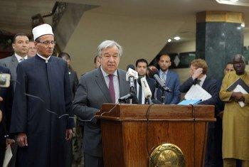 O secretário-geral da ONU, António Guterres, aterrou na Líbia, esta quarta-feira, depois de ter visitado o Egito.