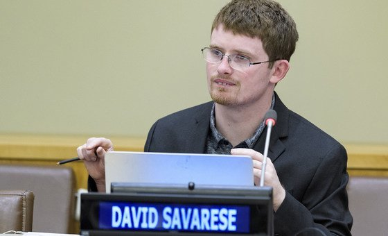 """David Savarese speaking at the event """"Assistive Technologies, Active Participation"""" at UN Headquarters, on World Autism Awareness Day."""