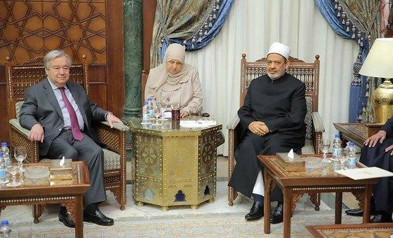 António Guterres reuniu-se com o grande Imâ de al-Azhar, Ahmed El Tayeb.