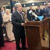 El Secrtario General António Guterres duranmte su discurso en la mezquita de al-Azhar en El Cairo, la capital de Egipto.