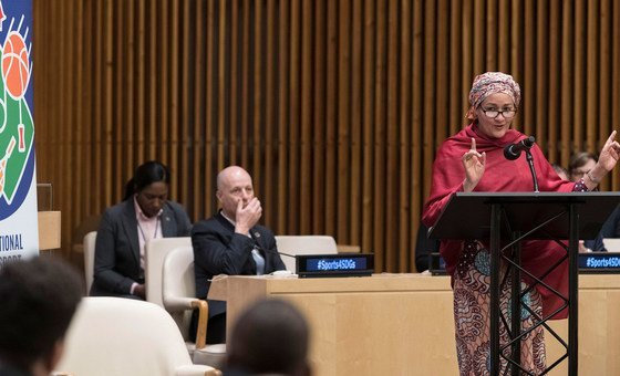 Deputy Secretary-General Amina Mohammed (at podium) opens the event to commemorate the International Day of Sport for Development and Peace (6 April).