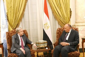 UN Secretary-General Antonio Guterres met with Egypt's FM Sameh Shoukry in Cairo, as part of his two-day visit to Egypt.