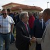 Secretary-General António Guterres greets national and international staff upon his arrival at UNSMIL Headquarters, the UN Support Mission in Libya. April 2019.