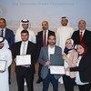 تسليم الشهادات والجوائز للفائزين في مسابقة الابتكارات الخضراء التي أطلقها المكتب الإقليمي للأمم المتحدة للبيئة في منطقة غرب آسيا ومكتب اليونيدو للاستثمار وتعزيز التكنولوجيا في البحرين في ديسمبر/كانون الأول 2018 بدعم ورعاية مصرف الطاقة الأول في البحرين.