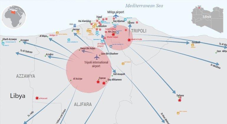 Mapa con información sobre los combates y los desplazamientos en Libia