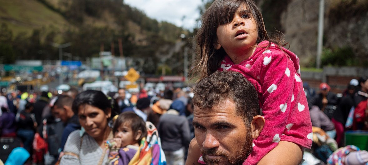 Colombian customs post at Rumichaca, border of Ecuador with Colombia. The UN refugee chief has condemned the toxic language focused on refugees and mingrants