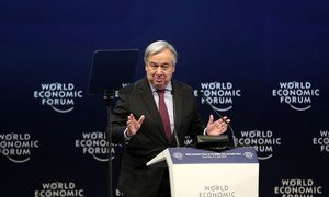 El Secretario General António Guterres habla en el Foro Económico Mundial en el Mar Muerto, Jordania.