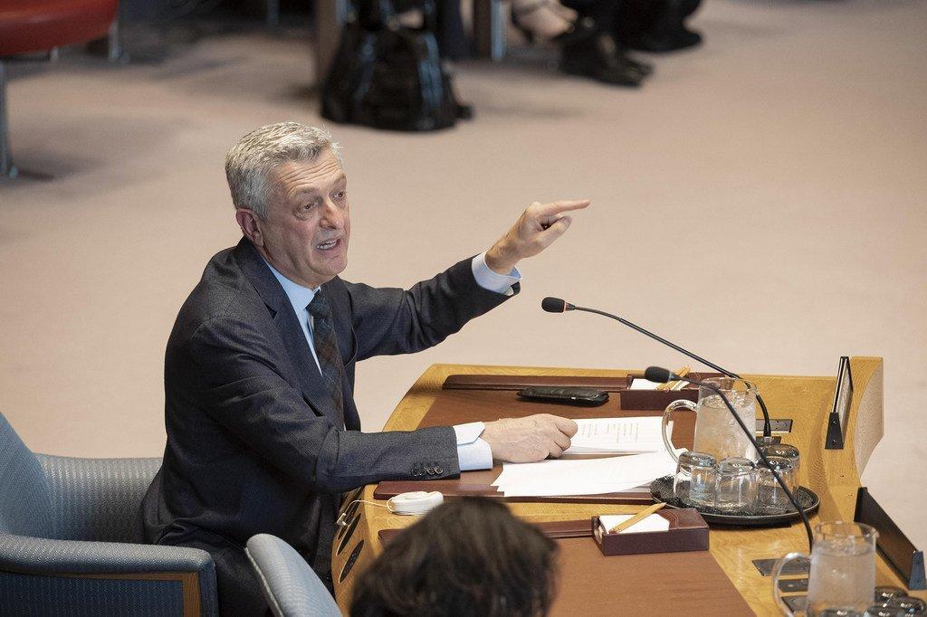 Le Haut-Commissaire des Nations Unies pour les réfugiés, Filippo Grandi, devant le Conseil de sécurité.