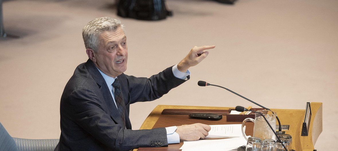 The United Nations High Commissioner for Refugees, Filippo Grandi, briefs the Security Council. (9 April 2019)