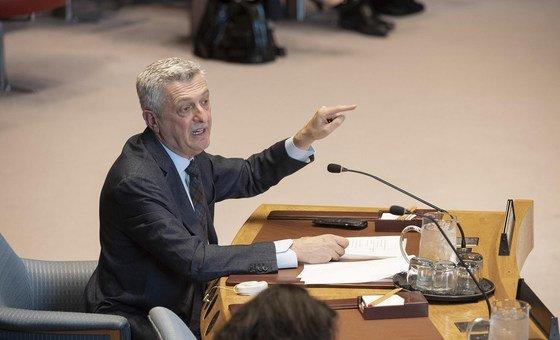 El Alto Comisionado de la ONU para los Refugiados, Filipo Grandi, habla en el Consejo de Seguridad.