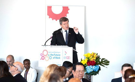ILO Director-General, Guy Ryder, addresses guests at a luncheon for ILO's 100 year anniversary.