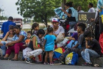 Wahamiaji wa Venezuela nchini Colombia. Takriban watu 5000 wamekuwa wakivuka mpaka kila siku kutoka Venezuela kwa mwaka mmoja uliopita zimesema takwimu za UN.Colombia Aprili 2019