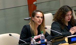 Анна Каспарян выступает на форуме в ООН