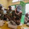 Zambian female peacekeepers provide medical support to the local population in Birao, Central African Republic.