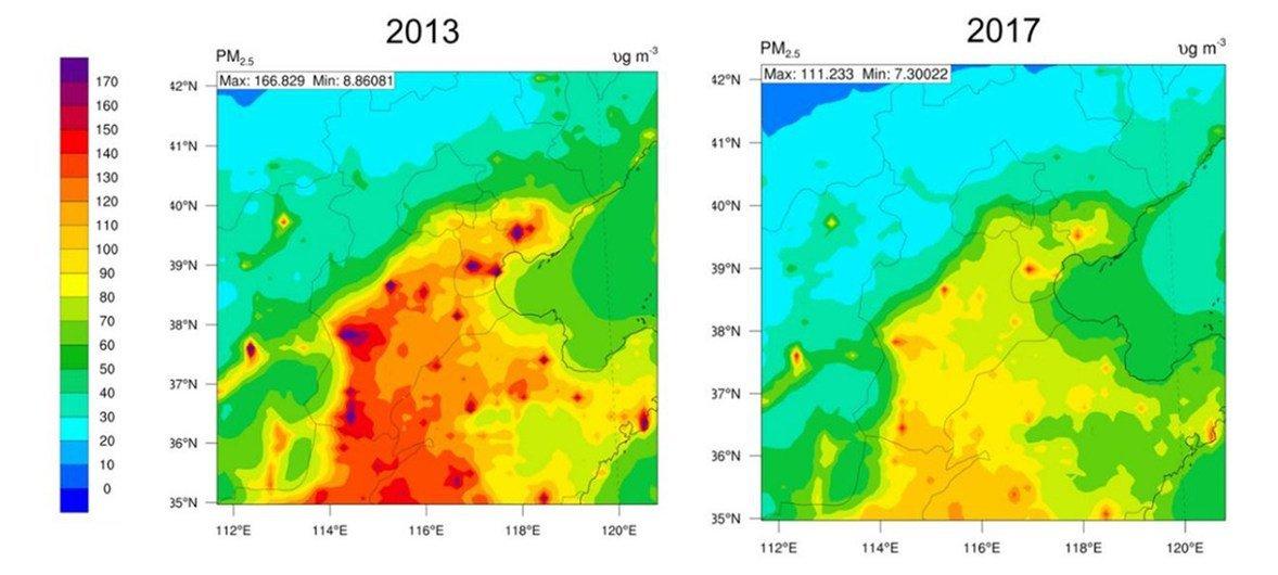 2013-2017年北京市及周边地区的PM2.5污染显著改善。