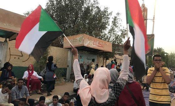 Manifestantes na capital do Sudão, Cartum